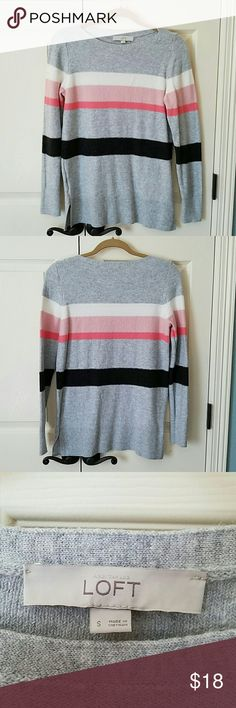 LOFT Striped Sweater EUC Super soft striped sweater.  Only worn once.  No flaws. LOFT Sweaters Crew & Scoop Necks