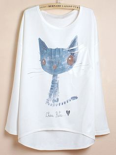 White Batwing Sleeve Blue Cat Print Dipped Hem T-Shirt. What is it with shirts like these that I love?  Paired with a dressy skirt?
