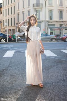 White Maxi Skirt Outfit - Dress Ala