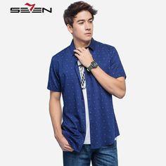 Men Short Sleeve Trendy Button Down Shirts Polka Dots Casual Shirts Fashion Slim Fit Print Shirts