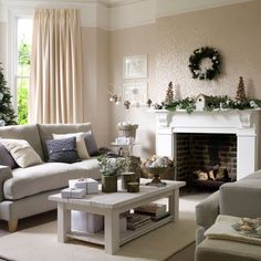This Looks Like A Cosy Living Room Ready For Christmas