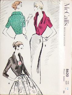 Vintage McCall's Sewing Pattern Number 8620 from 1951. Short, fitted jacket with bodice extending into a drape/shawl collar formation. Has short or three-quarter sleeves.