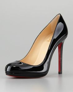 Christian Louboutin Neofilo Patent Round-Toe Red Sole Pump, Black - Yes I worship at the altar of shoes. =(