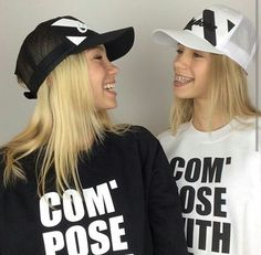 For those of you who cant tell them apart lisa has more blonde hair, lena has dark blonde and brown hair mixed. 👈lisa 👉lena in this picture lisa is on the left, and lena is on the right. Black And White Theme, Black N White, Lisa And Lena Clothing, Lisa Or Lena, Twin Outfits, Future Clothes, Dark Blonde, Blonde Hair, Sweatshirt Outfit