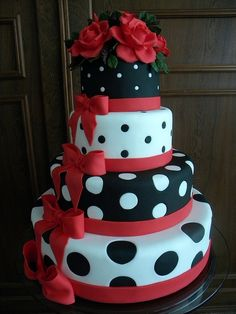Red and black polka dot cake