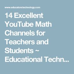 Free resource of educational web tools, century skills, tips and tutorials on how teachers and students integrate technology into education Math Movies, 21st Century Skills, Mobile Learning, Math Teacher, Teaching Science, Educational Technology, Homeschool, Channel, Students