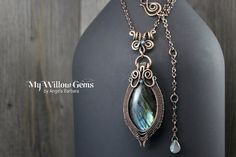 Wire Wrapped Labradorite Necklace  Copper and by MyWillowGems
