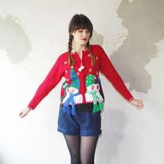 90s ugly CHRISTMAS sweater oops cardigan. by retrospectrovintage, $33.00