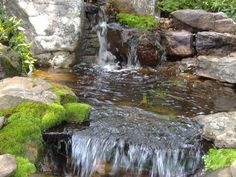 This mossy Waterfall spills into a splash pool then falls over into a stream.
