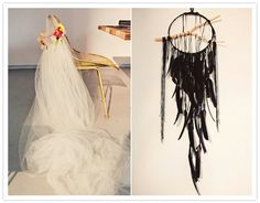 Chair with flower-crown veil...LOVE that pic on the left :)