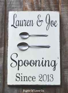 Spooning Since Sign Anniversary Gift Signs Personalized Decor Couples Gift Wedding Sign Valentines Couples