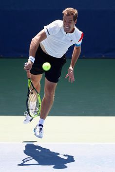 Richard Gasquet of France serves to Leonardo Mayer of Argentina during their first round Men's Singles match on Day Three of the 2017 US Open at the USTA Billie Jean King National Tennis Center on August 30, 2017 in the Flushing neighborhood of the Queens borough of New York City.