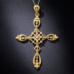 18K Gold Antique Cross with Diamonds and Emerald Accents