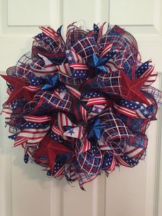 Patriotic Wreath, Fourth of July Wreath, Memorial Day Wreath, wreath, Deco mesh Wreath, red white and Blue Wreath, Anytime Wreath  by RoesWreaths on Etsy https://www.etsy.com/listing/232372085/patriotic-wreath-fourth-of-july-wreath