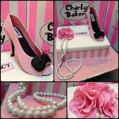 3D elegant Shoebox cake and Stiletto with bow in pastel pink, white & black, with stripes, fondant roses & pearls