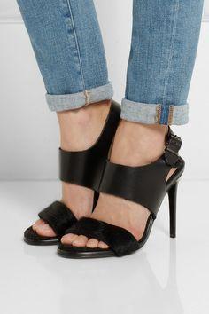 Acne Studios' black leather and calf hair 'Tillie' sandals