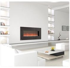 """linear wall Mount Electric fireplace with 110V Heater. 48"""" W x 22"""" H x 6.5""""D. wall mount or can be recessed. The Napoleon EFL48 is vent-less the flames are simulated. $719.10, $1 shipping untill 4/30/2012."""