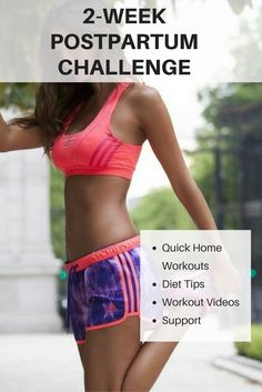 2 Week At Home Post Pregnancy Workout Challenge.  Get your body back. #weightlossmotivation