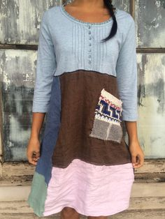 Romantic/Tattered/Rustic/Gypsy/Boho Dress upper part of dress is made with cotton and has small baby blue buttons along front lower part is made with a variety of panels and has added knit pocket along front Size-small medium Chest-40 with stretch Waist-40 Length-39