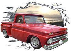 1966 Red Chevy Pickup Truck 4X4 Custom Hot Rod Sun Set T-Shirt 66 Muscle Car Tee