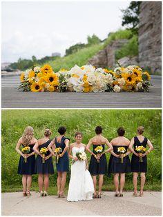 We love sunflowers in a summer wedding! Photos by Sara C. #SummerWeddings #WeddingBouquets