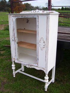 shabby chippy white china cabinet