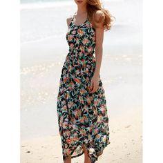 Sexy Women's Spaghetti Strap Floral Print Open Back Maxi Dress