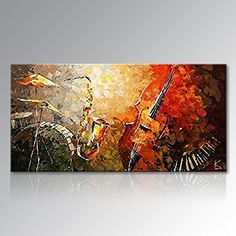 Everfun+Art+Hand+Painted+Abstract+Canvas+Wall+Art+Ready+to+Hang+Music+Instrument+Modern+Oil+Painting+Contemporary+Artwork+Stretched+(Framed+6030+inch)
