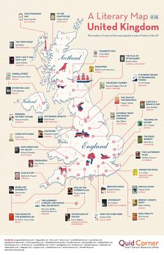 This literary map of the United Kingdom is a book nerd's perfect travel itinerary Map Of Britain, Lectures, British Isles, Book Nerd, Book Lists, Books To Read, The Unit, How To Plan, United Kingdom Map