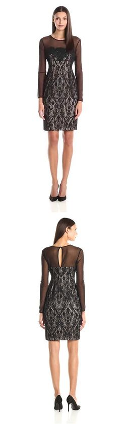 MAGGY LONDON WOMEN'S BAROQUE HEART LACE SHEATH DRESS---------- Color:  Black--------- 95% Polyester, 5% Spandex--------- Center back keyhole opening; center back invisible zipper with hook and eye---------- Elegant,Classy and Beautiful Dress ideal for Party, Casual ,Everyday and Work Wear during Summers/Spring of 2016 Designer------------ Can be worn by teens and adults -----------