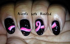 Pink on Black Breast Cancer Awareness Nail Art check out www.ThePolishObsessed.com for more nail art ideas.