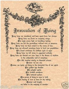 Invocation of Being Spell Page for Book of Shadows Parchment Wicca BOS Pages