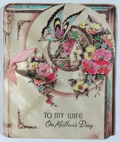 Vintage Mother's Day Greeting Card To My Wife 1939 Beautiful Book Design Flowers | eBay