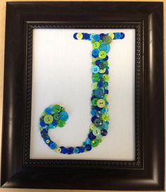 Framed Button Letter J by upcyclingwithstyle on Etsy, $40.00