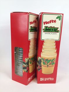 Vtg Hefty Holiday Tumblers 80s Christmas Party Cups Crystal Plastic 10oz | eBay