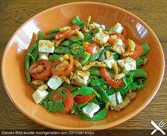 Grüne Bohnen mit Tomaten - Ruccola - Schafskäse Salat