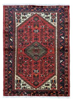Semi-Antique Blue and Red Persian Hamadan Rug by FineRugCollection