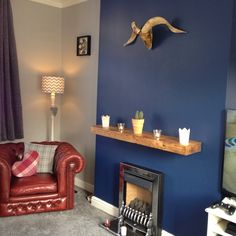 Sapphire salute / chic shadow / feature wall / navy and grey / osteology / skull / hunting lodge / Chesterfield / home / design / interiors / Dulux