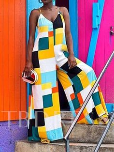 Your new fashion Roaso Casual Color-lump One-piece Jumpsuit Multicolor Lattices African Print Fashion, African Fashion Dresses, African Dress, Wholesale Shoes, Wholesale Clothing, Casual Wear, Casual Outfits, Fashion Outfits, Mode Kimono