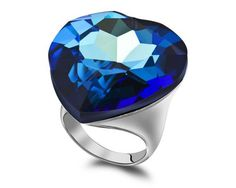 Austrian Crystal Blue Sapphire Engagement Rings Exaggerated Big Stone Heart Of The Ocean Ring Made With Real Swarovski Elements