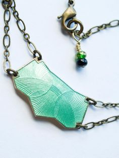 Art Deco Necklace Vintage Enameled Brass by SaltyStarDesigns