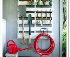 DIY Outdoor Hanging Garden Tool Display via http://diypallets.com maybe get the barn cleaned up