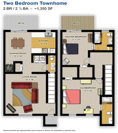 Lakeside Apartment Townhomes College Park GA The Two Bedroom Bath Floor Plan With