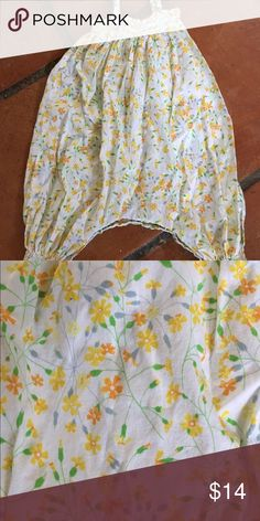 Yellow Floral Jumper Super soft floral one piece from Anais & I. Elastic at chest and ankles. Tag reads 12 mo. No stains, pulls or pilling. Smoke and pet free home. Anais & I One Pieces Bodysuits