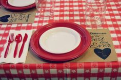 Awesome brown paper-bag placemats for a BBQ rehearsal dinner!