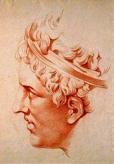 Head of a young man à l'antique. Jean-François de Neufforge, Comblain-au-Point, 1714-1791 Paris), red chalk on laid paper. http://hadrian6.tumblr.com