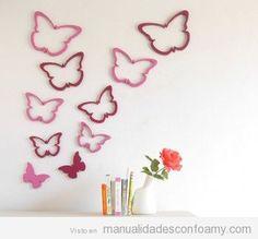 Mariposas de goma eva para decoración de paredes