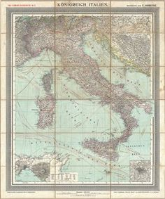 Konigreich Italien. An appealing c. 1890 large format map of Italy issued by Carl Flemming and Friedrich Handtke.  The map covers the Italian peninsula in full from the Alps to Sicily, including Malta, Sardinia, Pantelleria, and Corsica.  An inset map in the lower left quadrant details the vicinity Napoli (Naples) and another in the lower right focuses on Rome.  Numerous shipping lands throughout the Mediterranean are shown.  The whole is embraced in a wide decorative border and has been ...