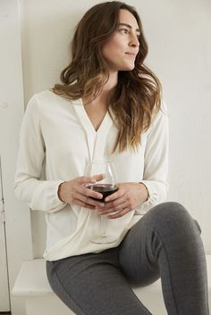 Relaxing night ahead (featuring our draped-front wrap top).