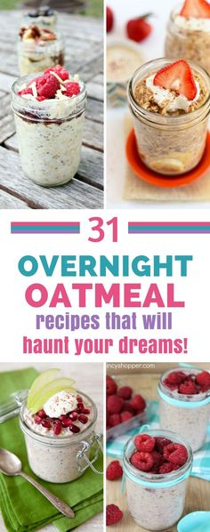 Overnight Oatmeal Recipes - Whether you're looking for meal prep breakfasts or you just want your kids to eat something healthy in the morning these easy overnight oatmeal recipes are quick and easy to make. #breakfast #healthyeating #mealprep